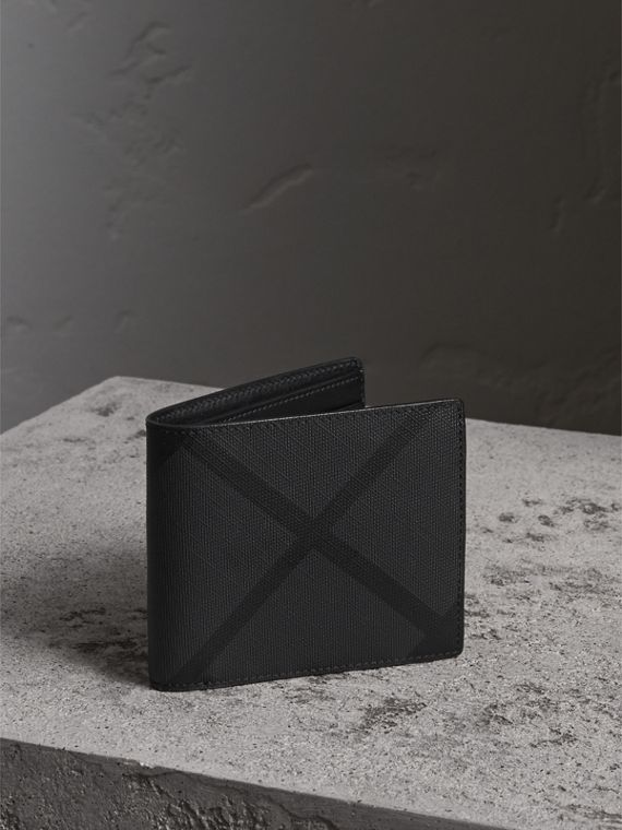 London Check Folding Wallet in Charcoal/black