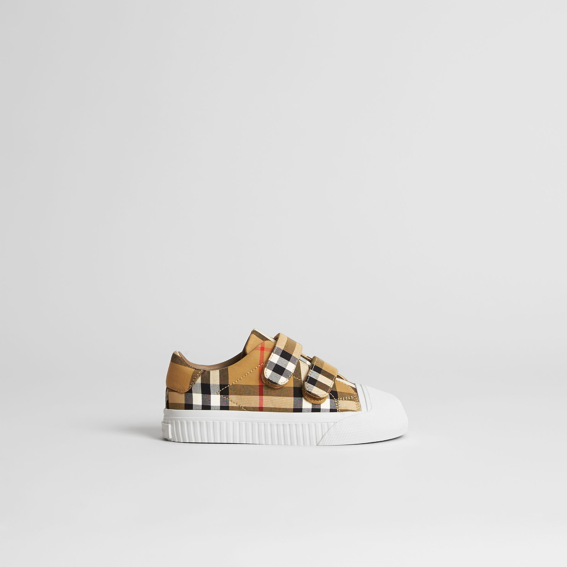 Vintage Check and Leather Sneakers in Antique Yellow/optic White | Burberry United States - gallery image 3