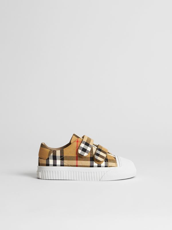 Vintage Check and Leather Sneakers in Antique Yellow/optic White | Burberry United States - cell image 3
