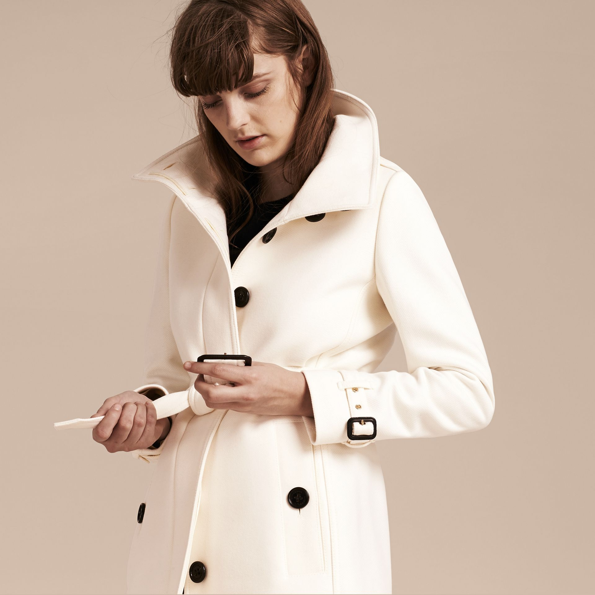 Natural white Technical Wool Cashmere Funnel Neck Coat Natural White - gallery image 6