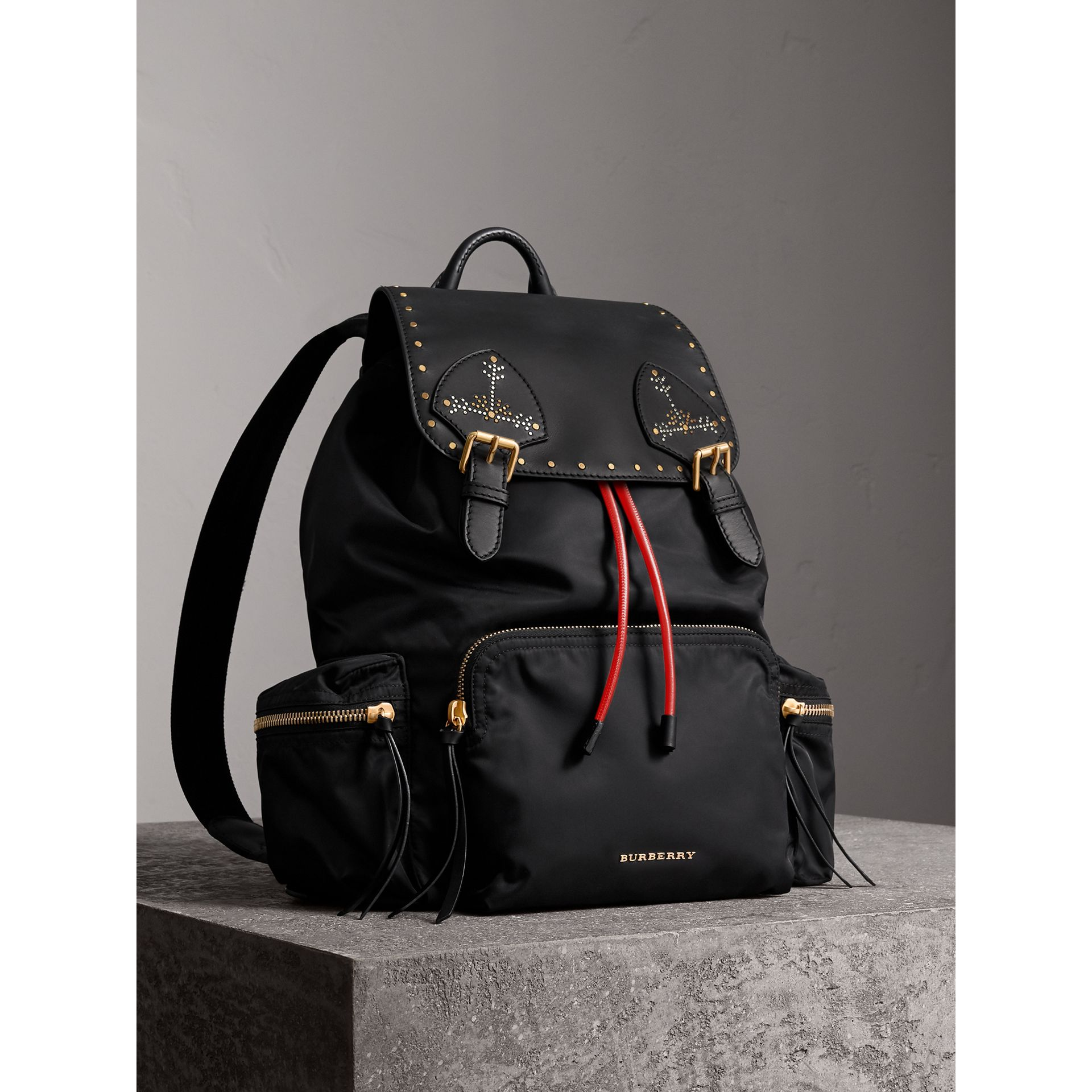 The Large Rucksack in Nylon and Riveted Leather in Black | Burberry - gallery image 0