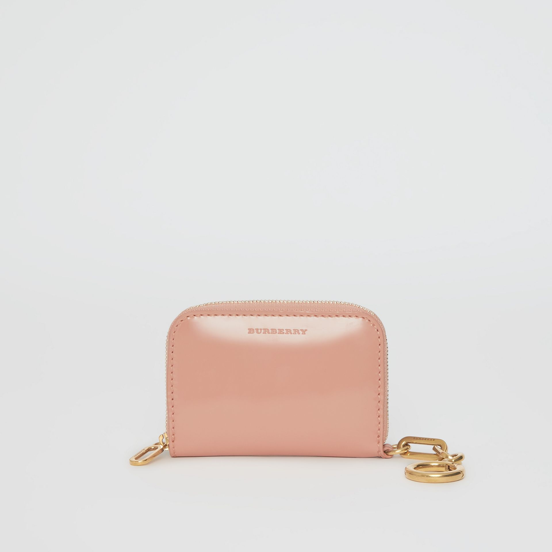 Link Detail Patent Leather Ziparound Wallet in Pale Fawn Pink - Women | Burberry Canada - gallery image 0