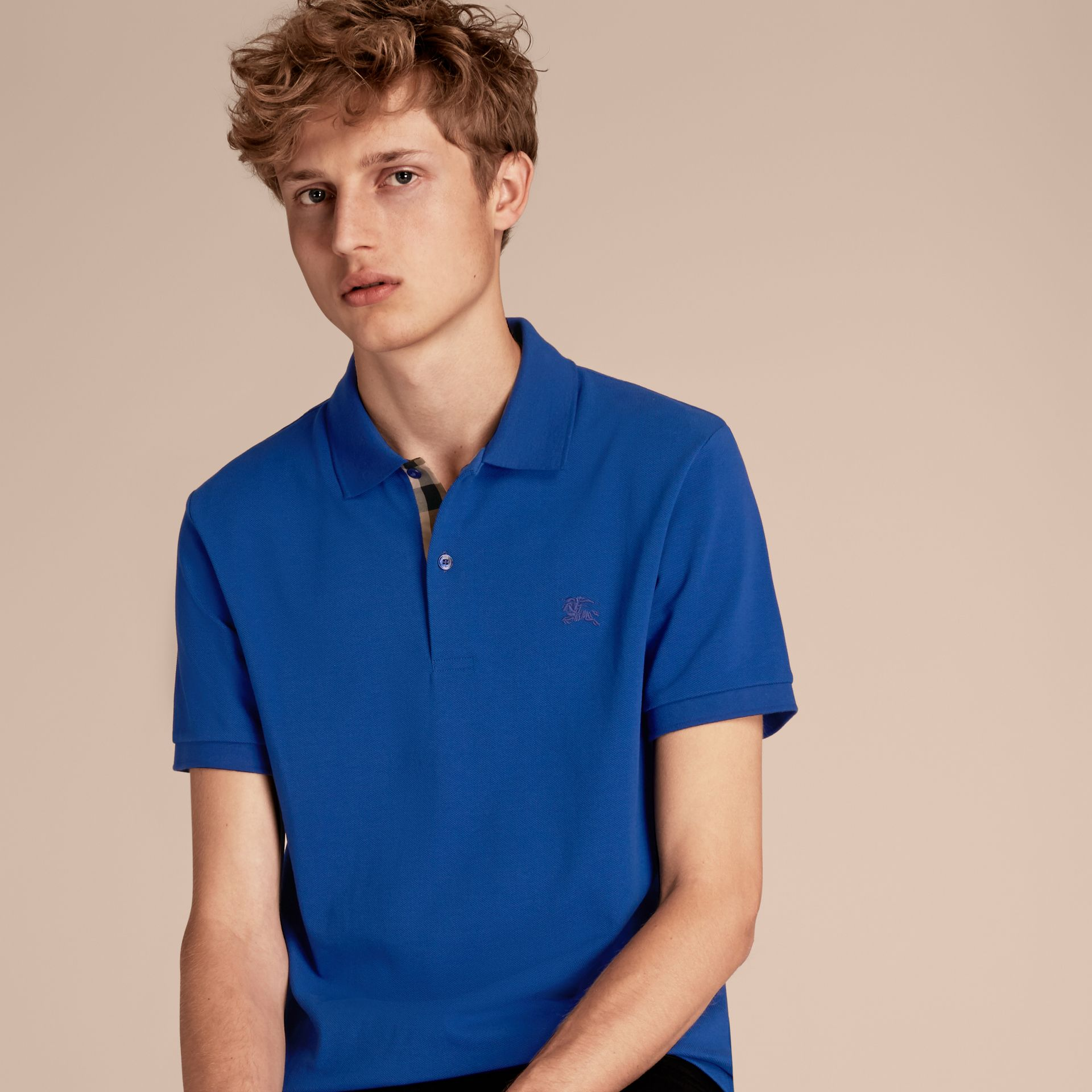 Check Placket Cotton Piqué Polo Shirt in Brilliant Blue - gallery image 6