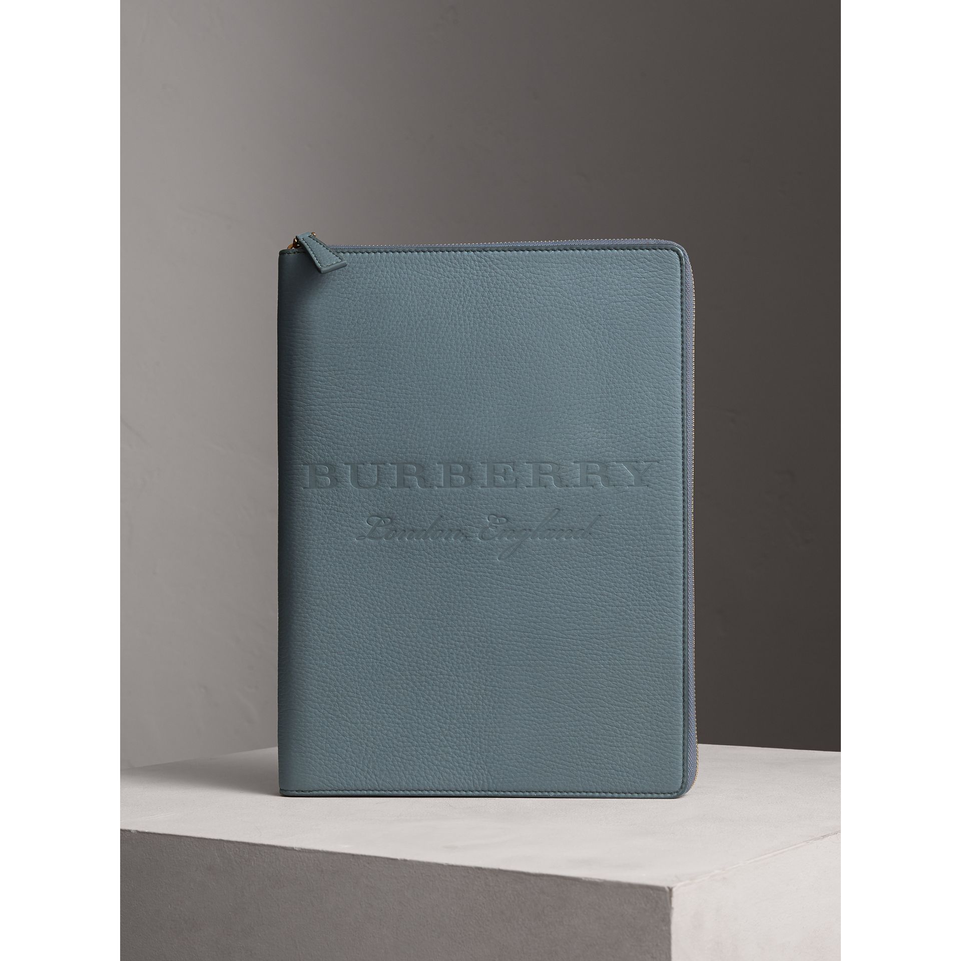 Embossed Grainy Leather Ziparound A4 Notebook Case in Dusty Teal Blue | Burberry - gallery image 4