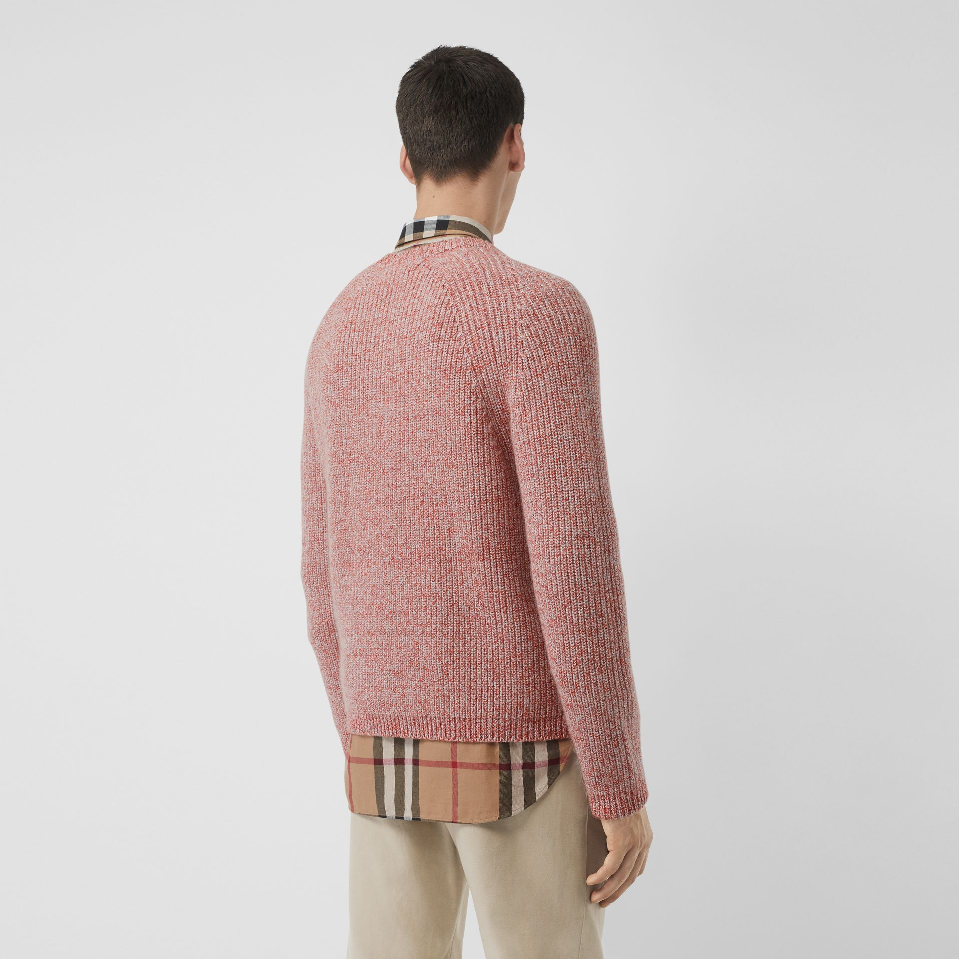 Rib Knit Cashmere Cotton Blend Sweater in Apricot Pink - Men | Burberry - gallery image 2
