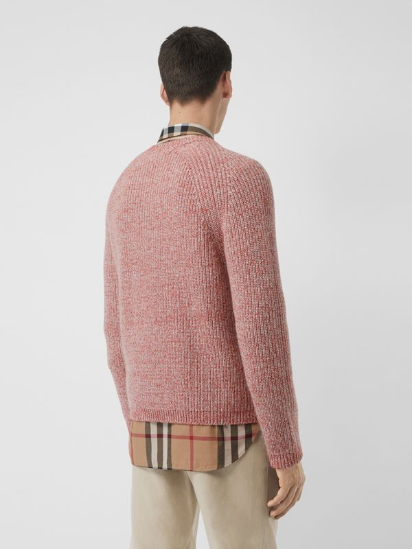 Rib Knit Cashmere Cotton Blend Sweater in Apricot Pink - Men | Burberry - cell image 2