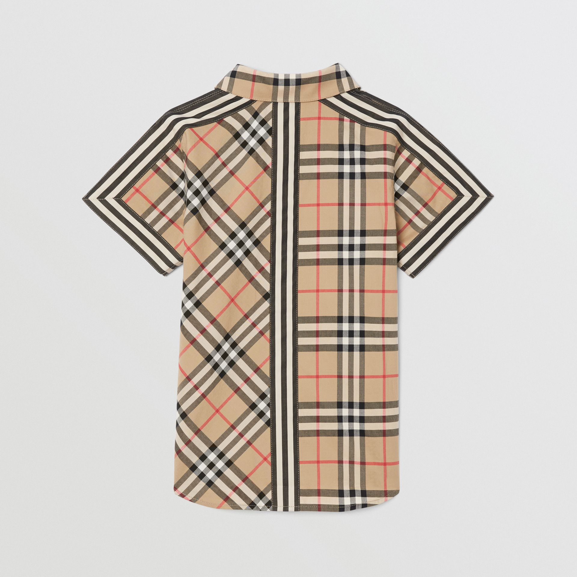 Short-sleeve Vintage Check Patchwork Cotton Shirt in Archive Beige | Burberry United Kingdom - gallery image 3