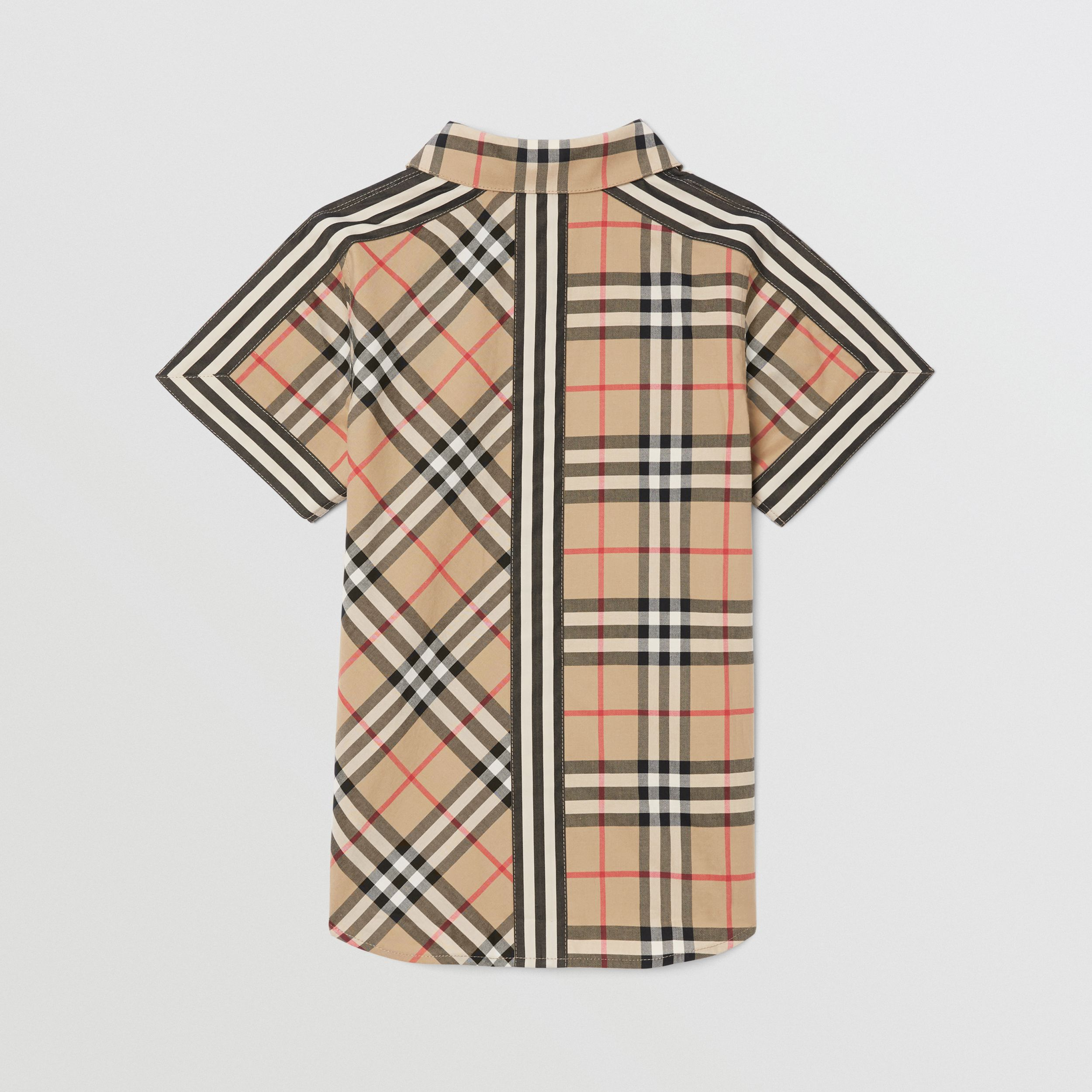 Short-sleeve Vintage Check Patchwork Cotton Shirt in Archive Beige | Burberry - 4