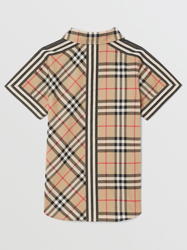 Short-sleeve Vintage Check Patchwork Cotton Shirt in Archive Beige | Burberry United Kingdom - cell image 3