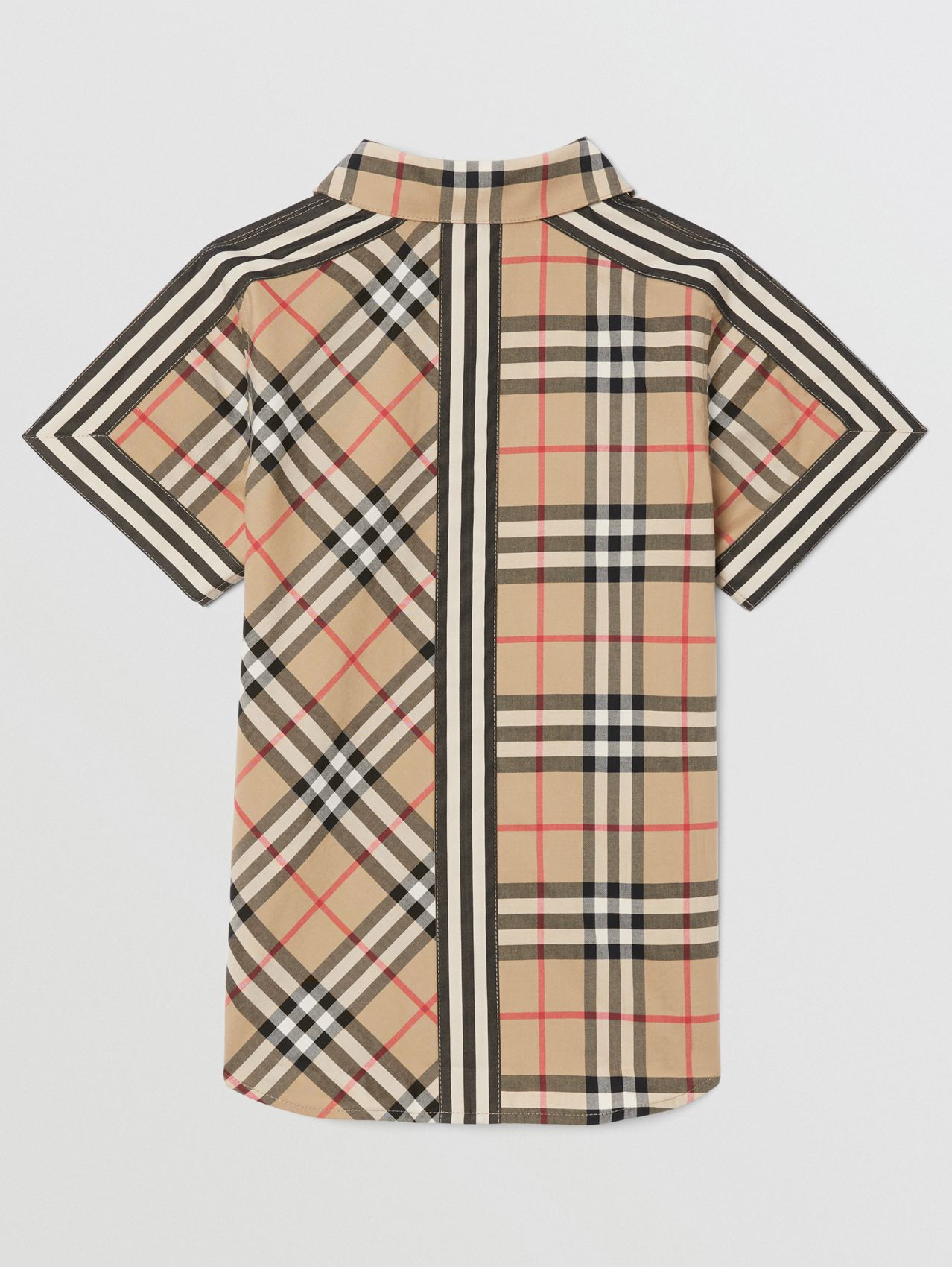 Short-sleeve Vintage Check Patchwork Cotton Shirt (Archive Beige)
