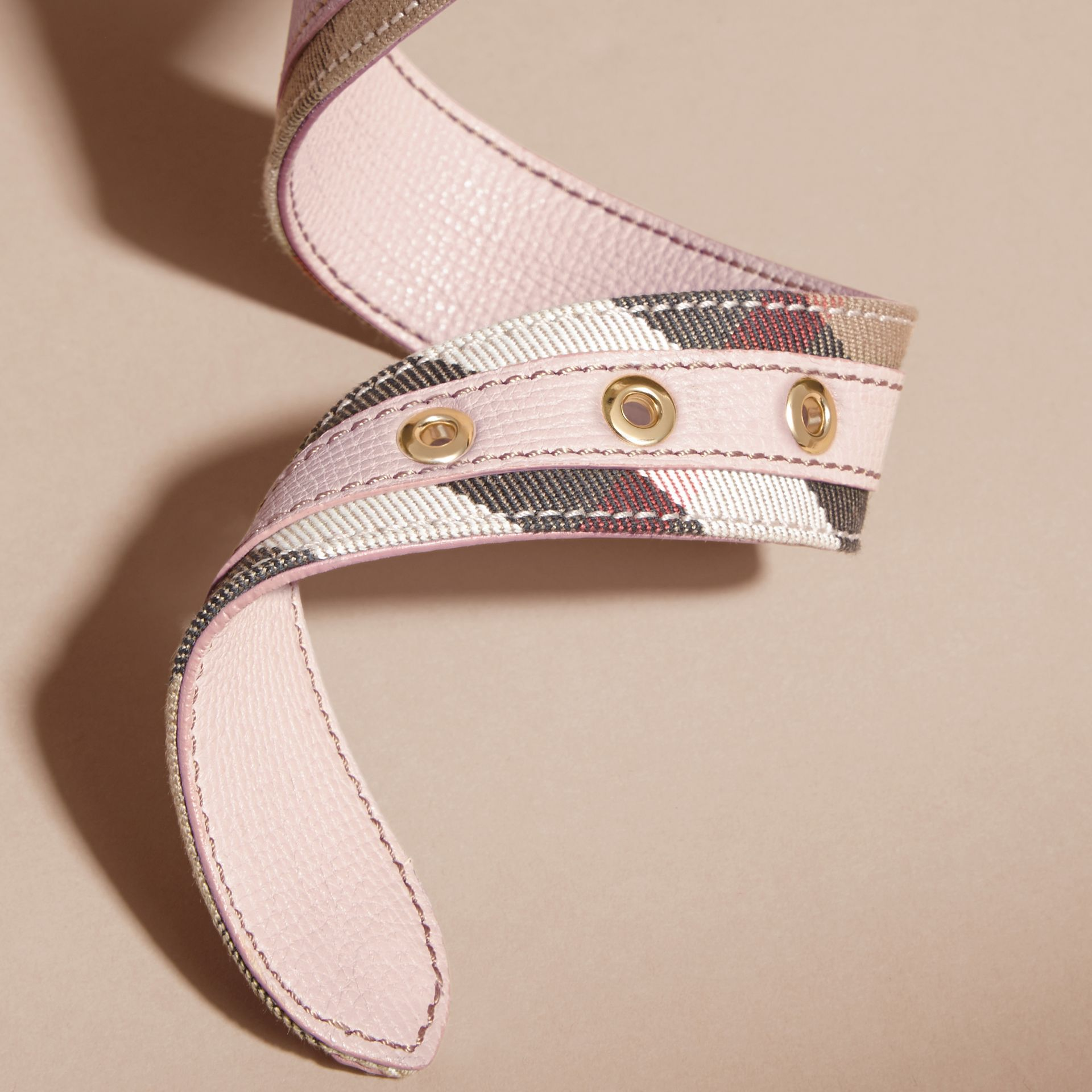 House Check and Grainy Leather Belt in Camel/pale Orchid - Women | Burberry - gallery image 3