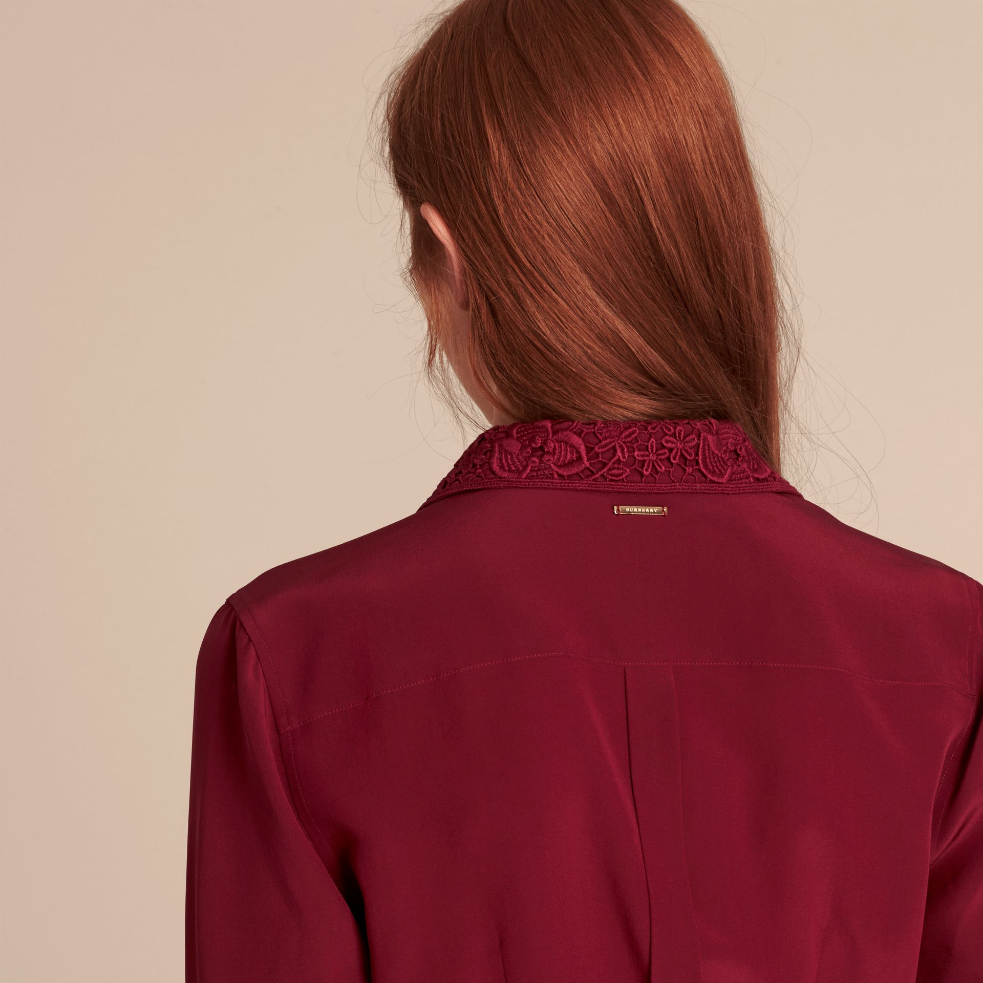 Dark crimson Lace Collar Silk Shirt Dark Crimson - gallery image 6