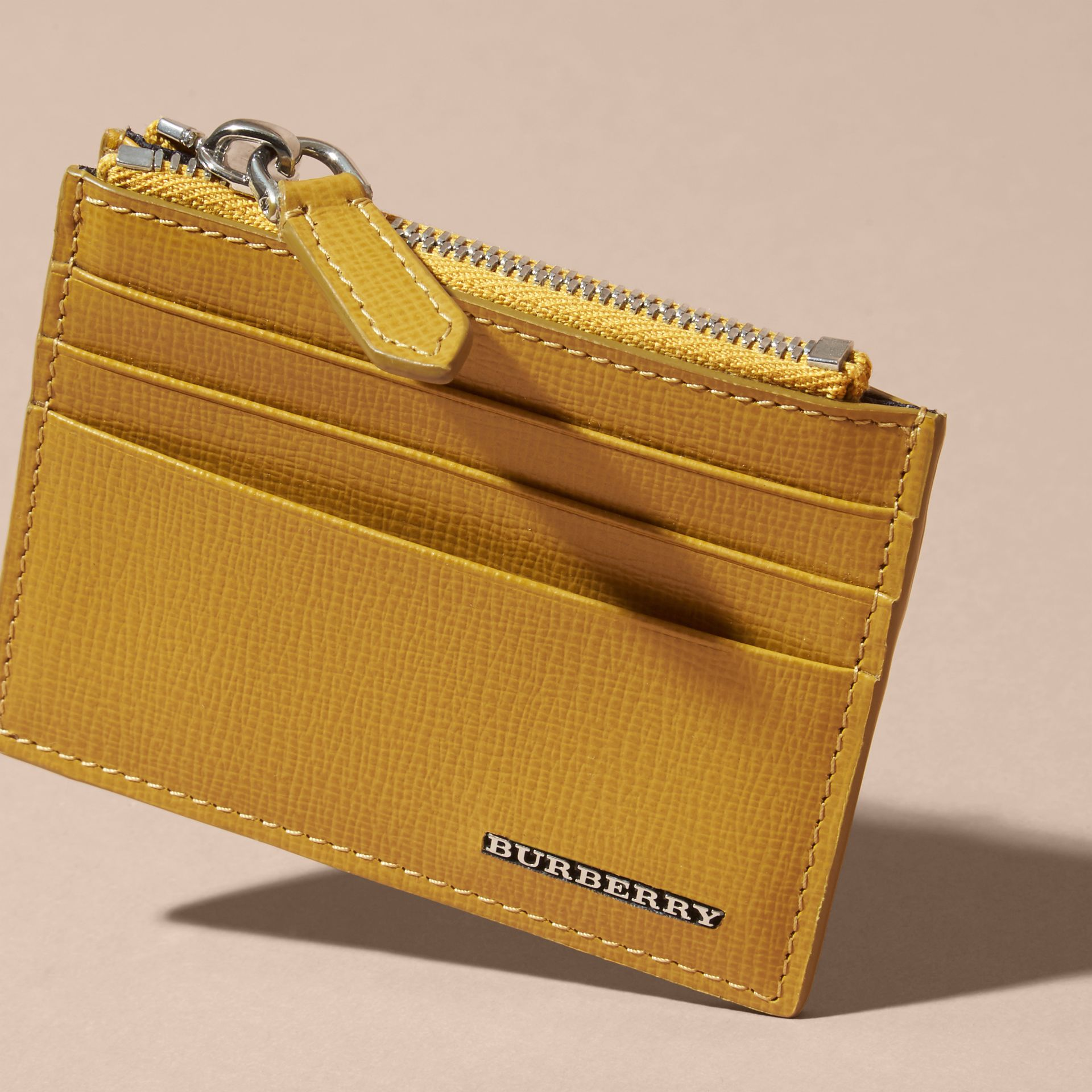 London Leather Zip-top Card Case Larch Yellow - gallery image 3