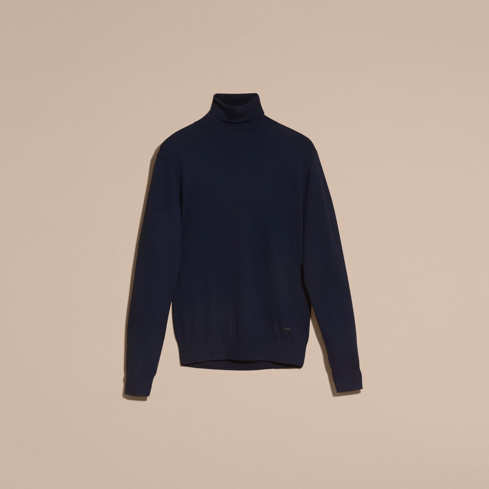 Navy Merino Wool Roll-neck Sweater Navy - gallery image 4