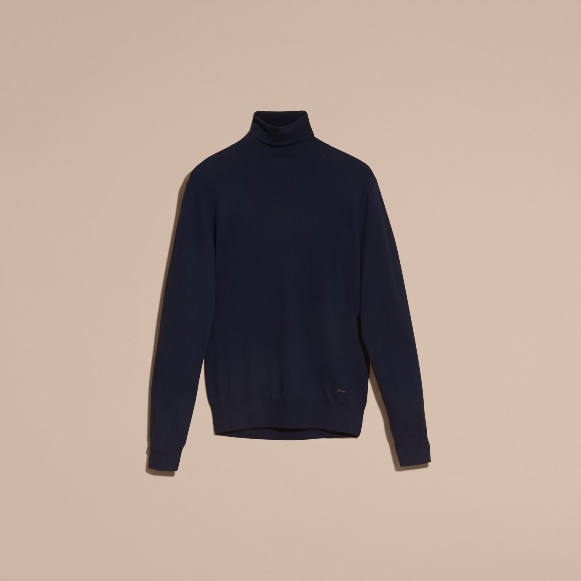 Marineblau Rollkragenpullover aus Merinowolle Marineblau - Galerie-Bild 4