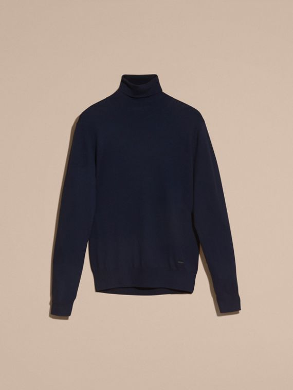 Navy Merino Wool Roll-neck Sweater Navy - cell image 3