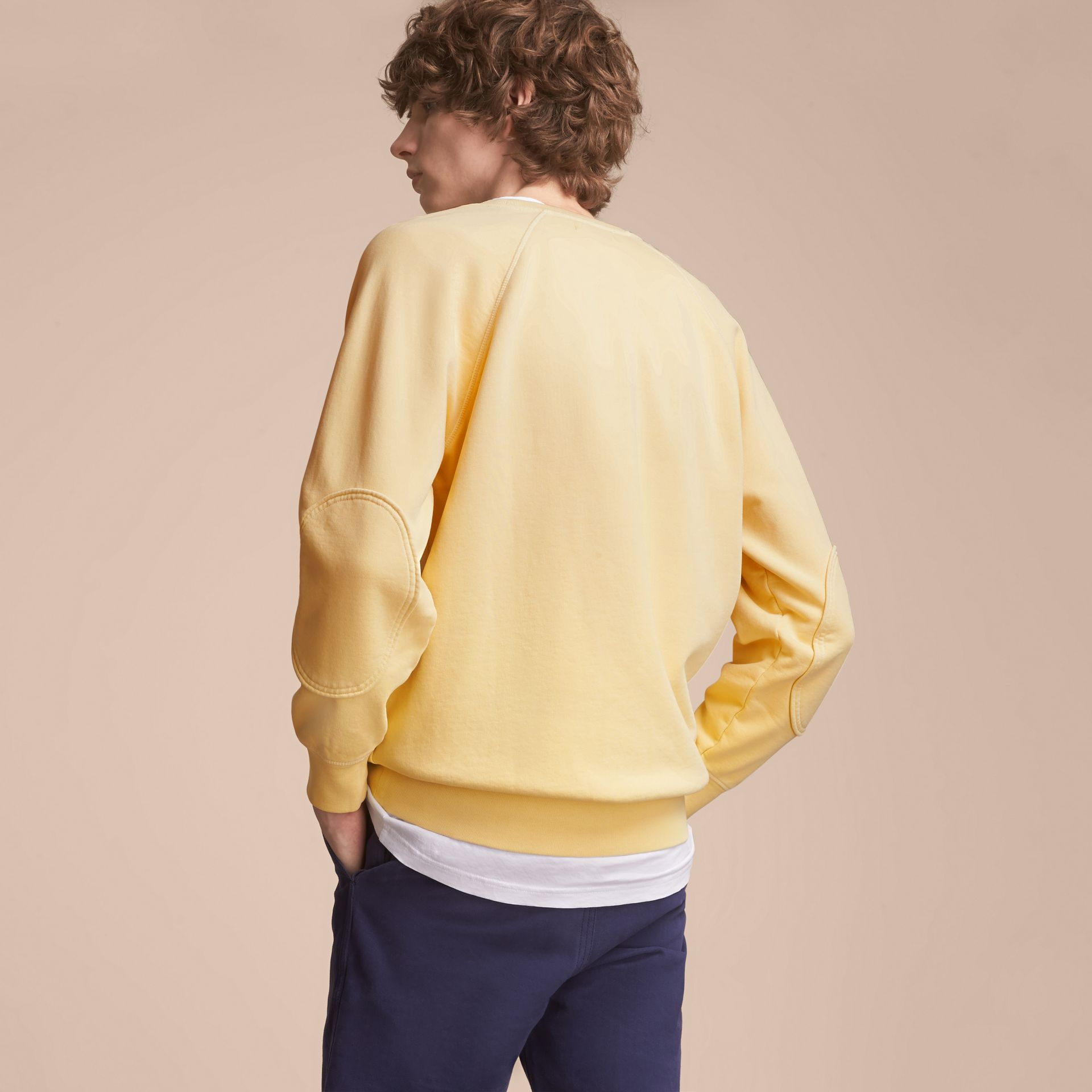 Unisex Pigment-dyed Cotton Oversize Sweatshirt in Pale Yellow - Men | Burberry Hong Kong - gallery image 3