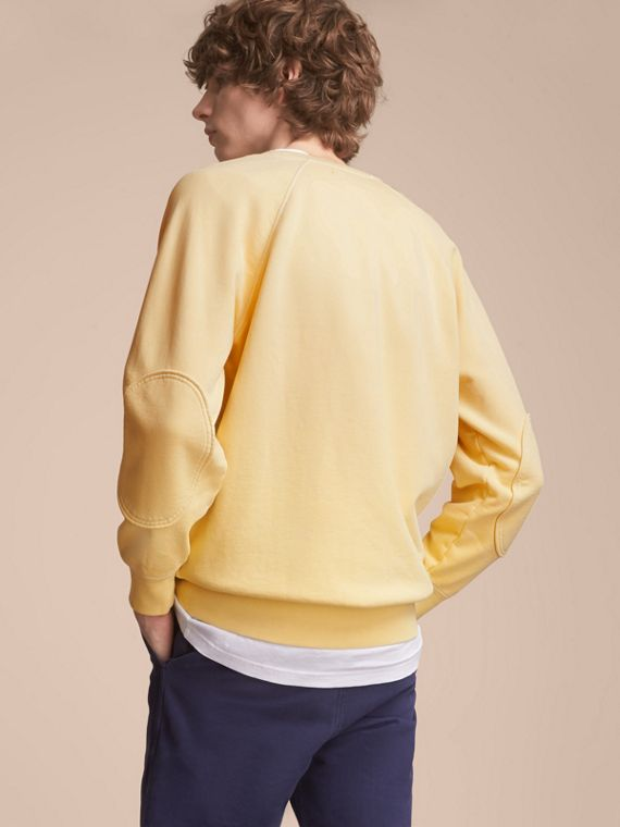 Unisex Pigment-dyed Cotton Oversize Sweatshirt in Pale Yellow - Men | Burberry - cell image 2