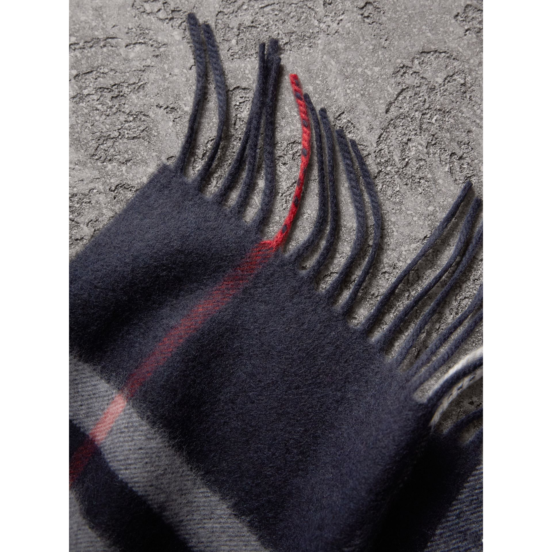 The Classic Check Cashmere Scarf in Navy | Burberry United Kingdom - gallery image 4