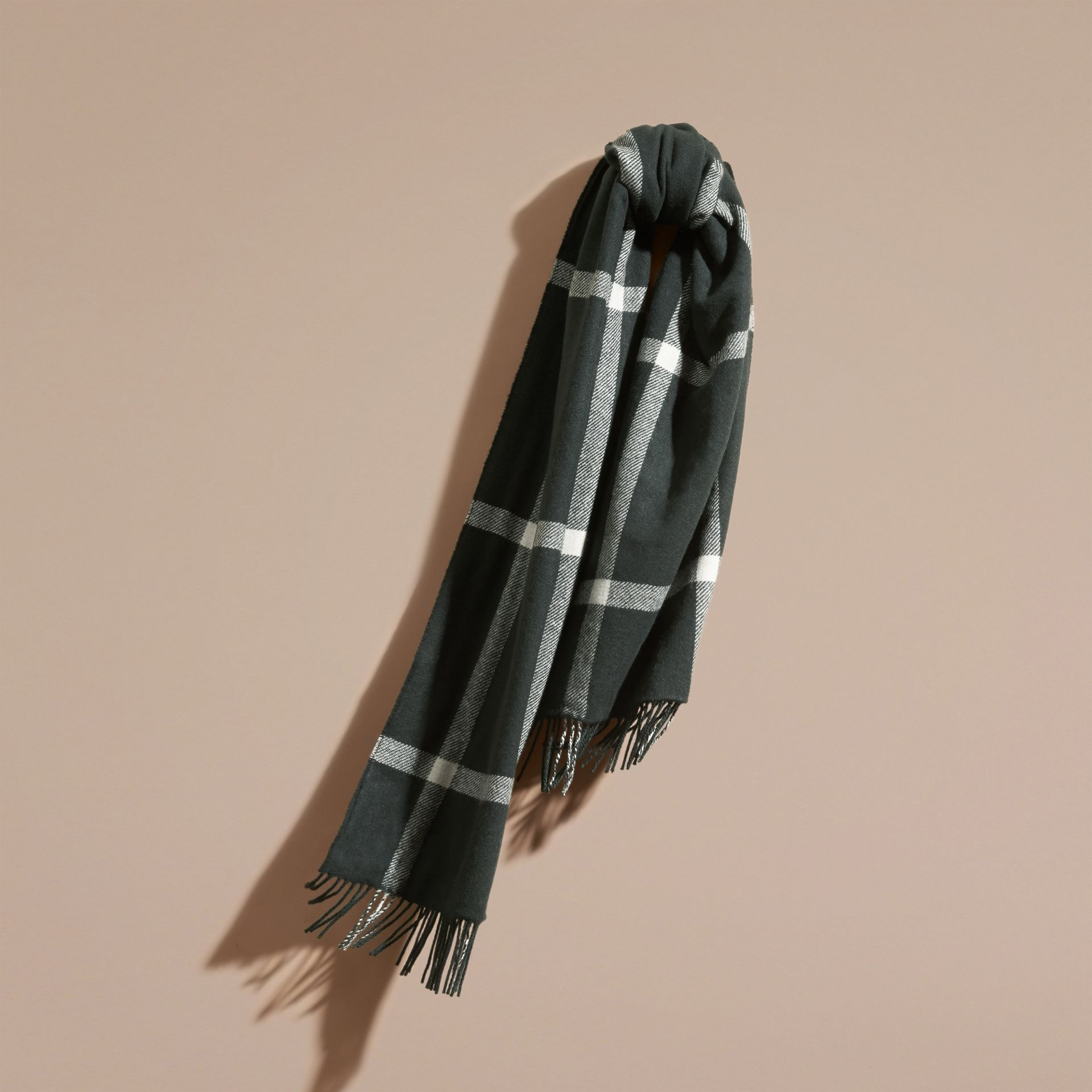 Deep green The Reversible Cashmere Scarf in Tartan Check Deep Green - gallery image 1