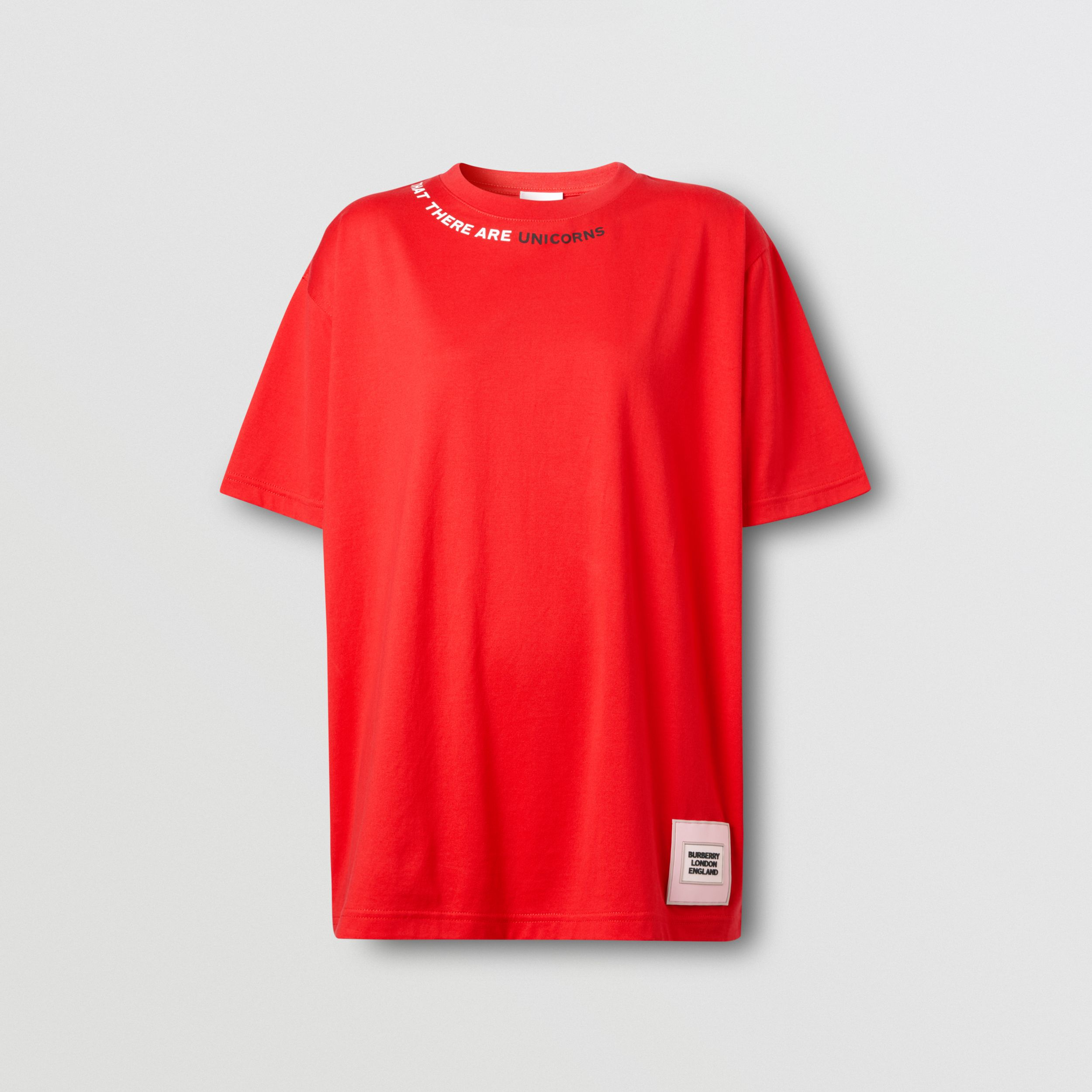 Quote Print Cotton Oversized T-shirt in Bright Red - Women | Burberry - 4