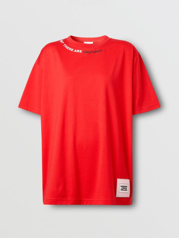 Quote Print Cotton Oversized T-shirt in Bright Red - Women | Burberry - cell image 3