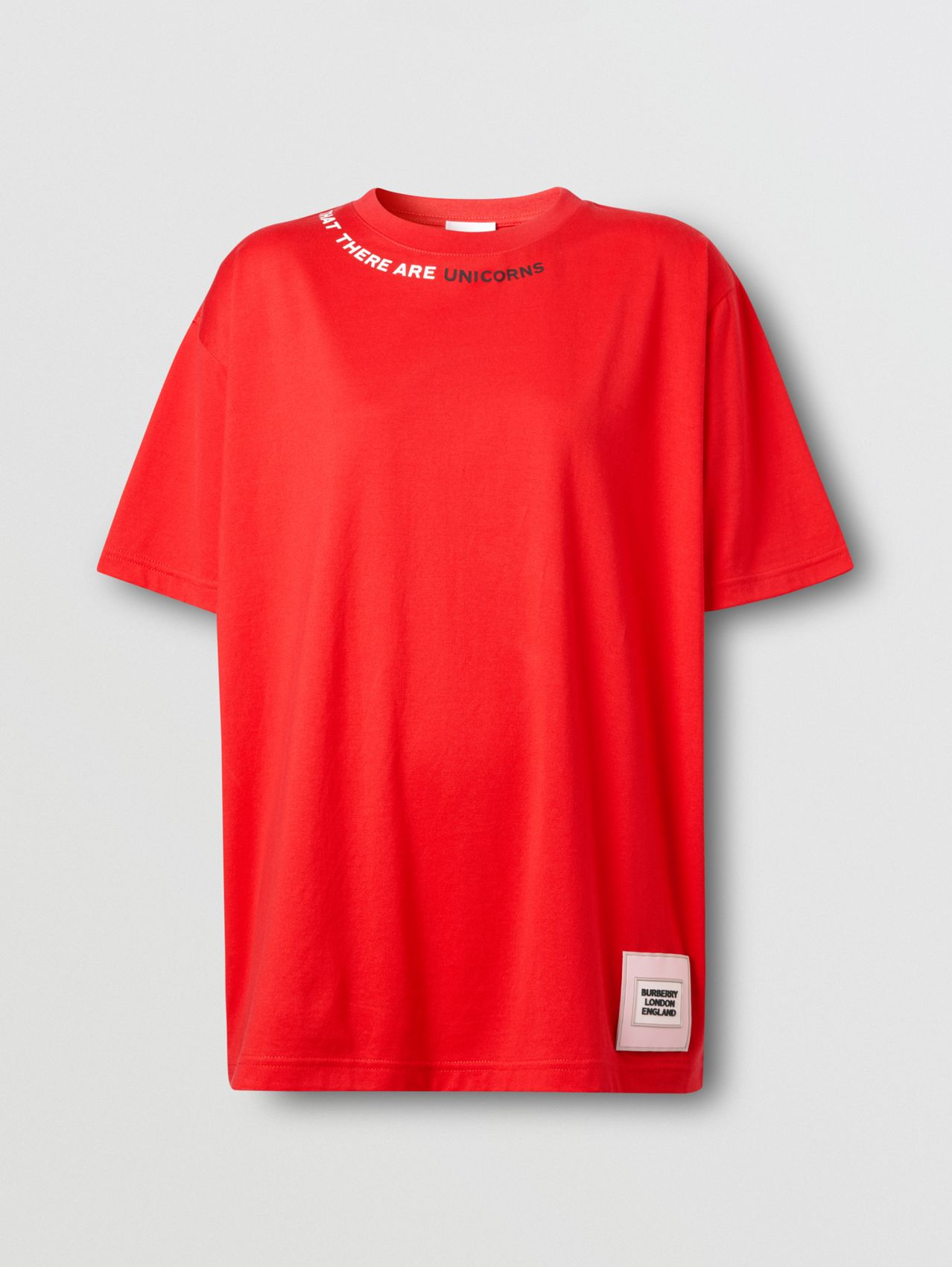 Quote Print Cotton Oversized T-shirt in Bright Red