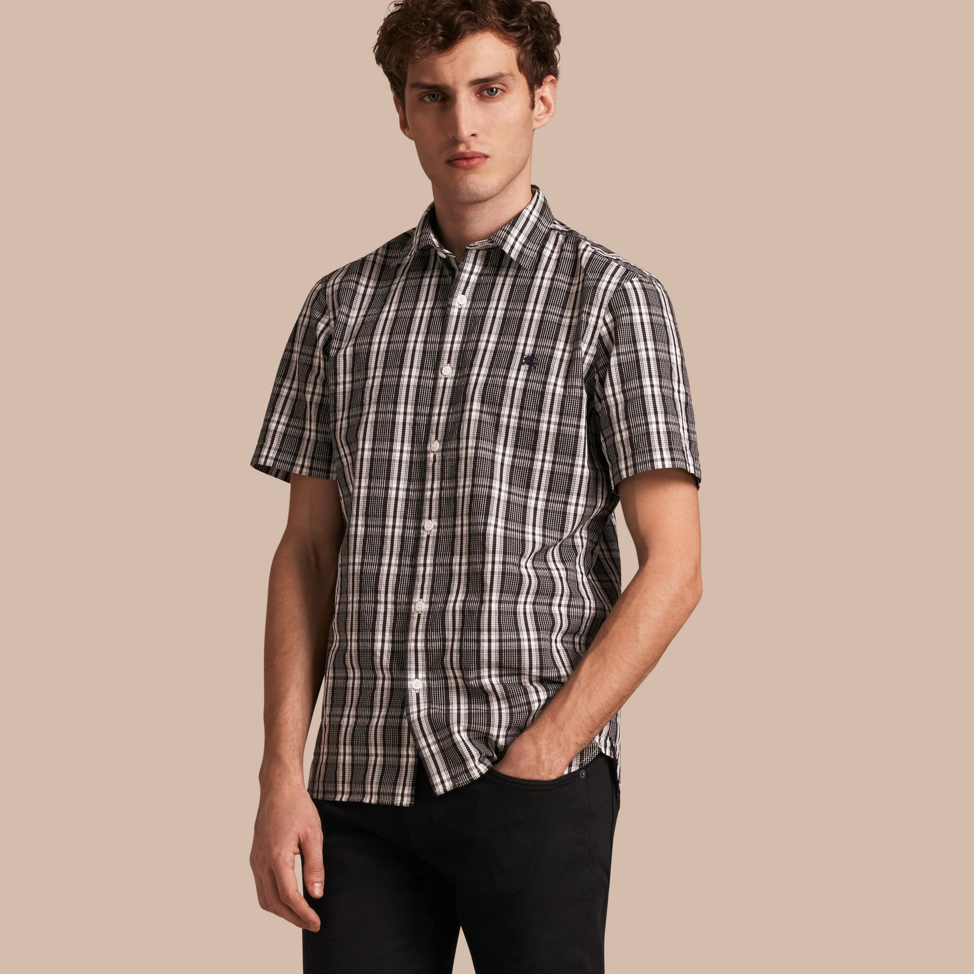 Short-sleeved Check Cotton Poplin Shirt - gallery image 1