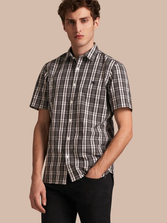 Short-sleeved Check Cotton Poplin Shirt