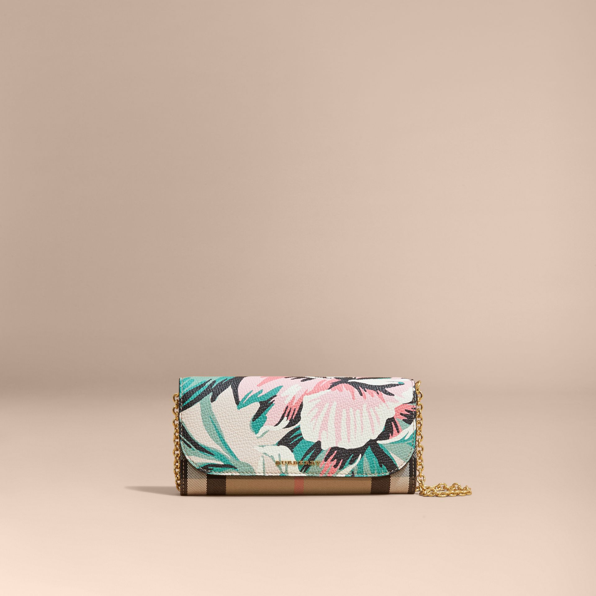 House Check and Peony Rose Print Wallet with Chain in Limestone/emerald Green - gallery image 9