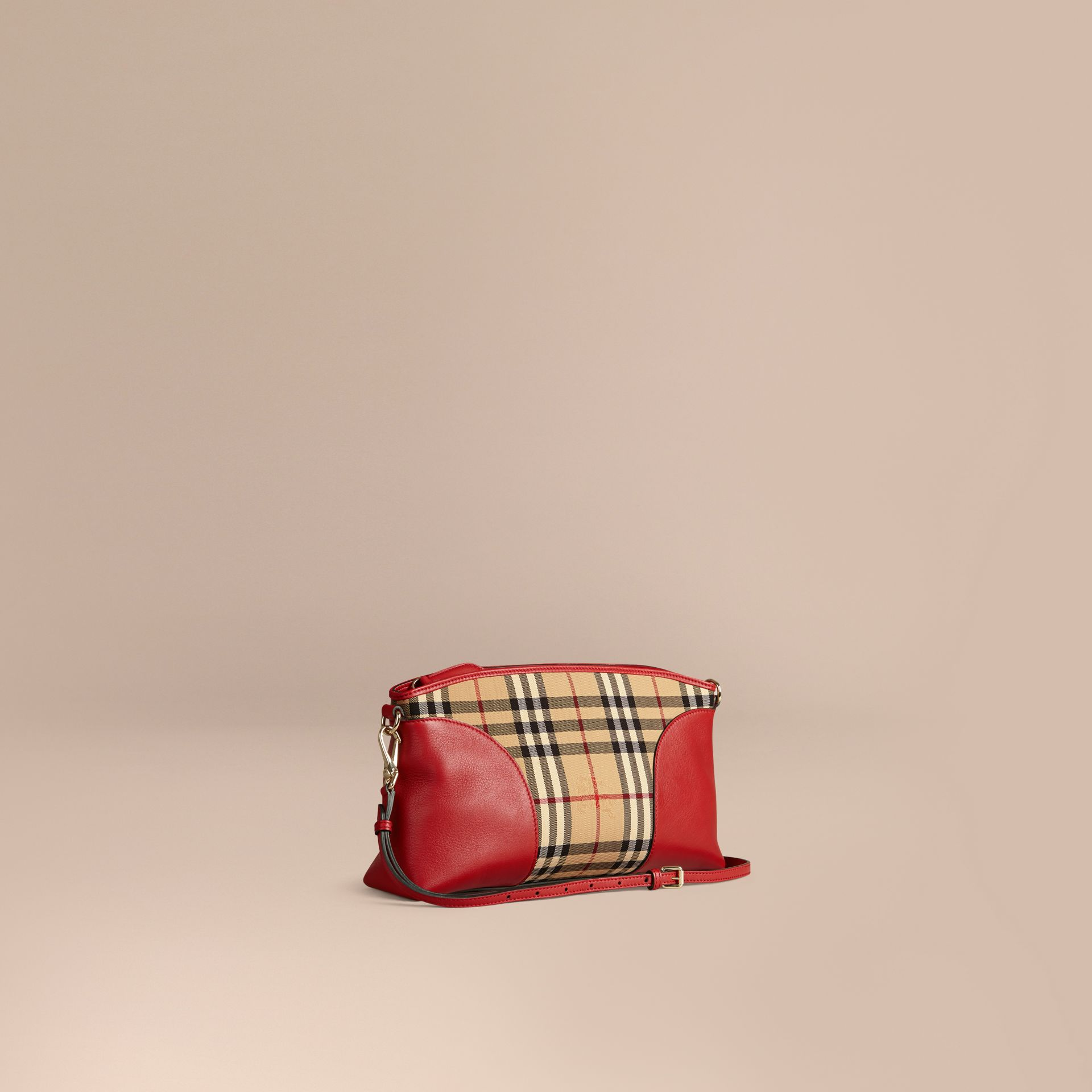 Horseferry Check and Leather Clutch Bag in Honey/parade Red - gallery image 1