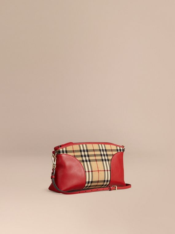 Horseferry Check and Leather Clutch Bag Honey/parade Red