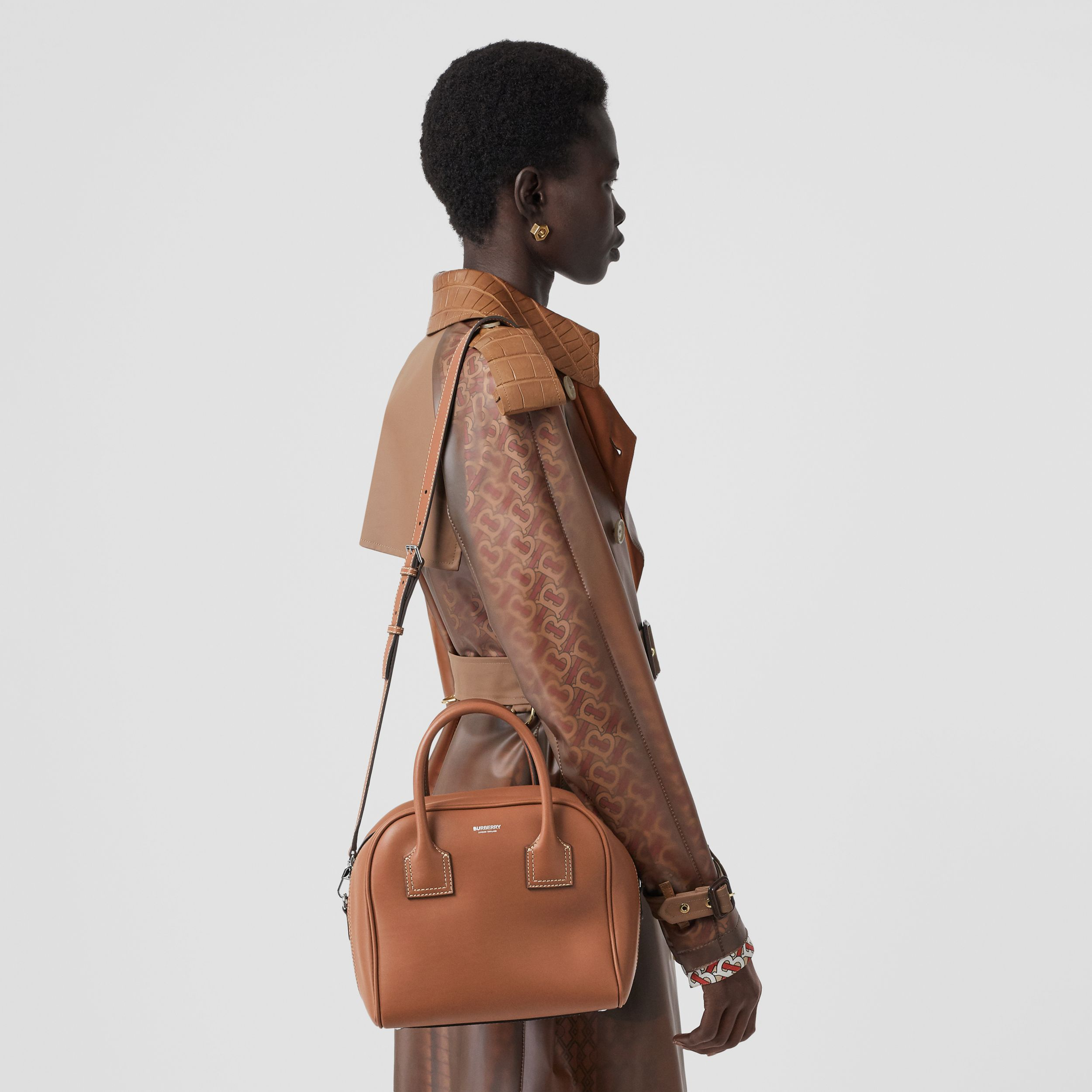Small Leather Cube Bag in Malt Brown - Women | Burberry Canada - 3