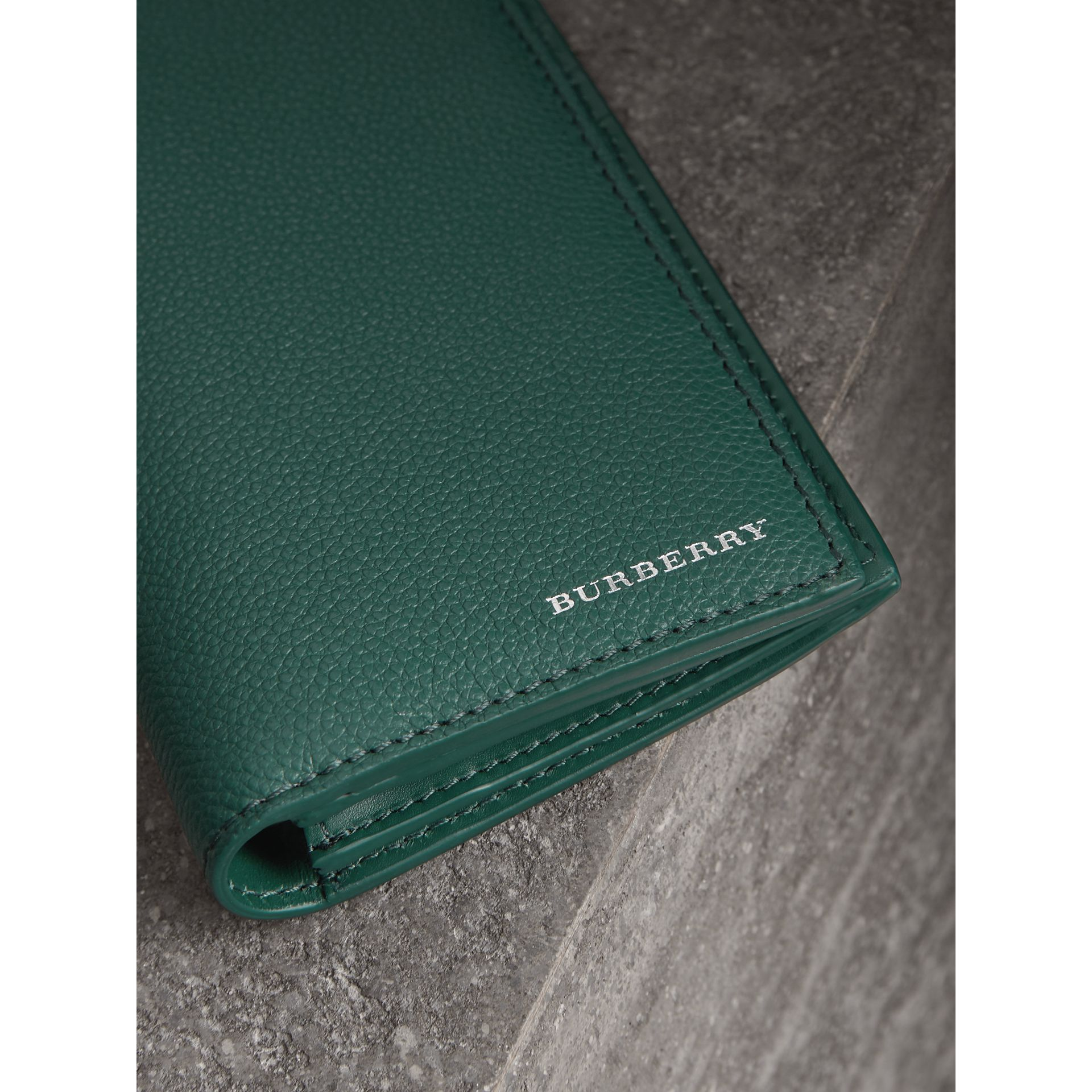 Grainy Leather Continental Wallet in Dark Cyan - Men | Burberry - gallery image 1