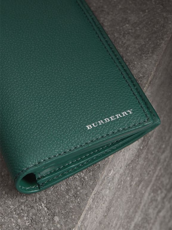 Grainy Leather Continental Wallet in Dark Cyan - Men | Burberry United Kingdom - cell image 1