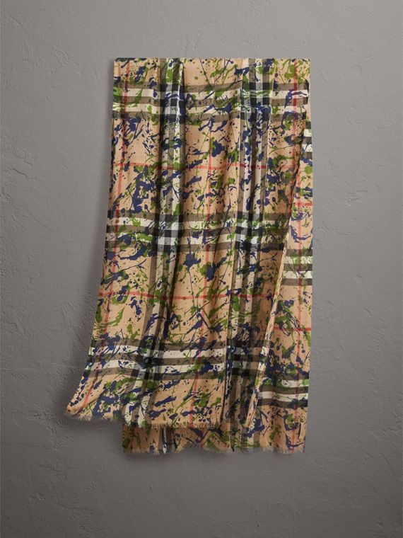 Splash Print and Check Lightweight Wool Silk Scarf in Camel/grass Green