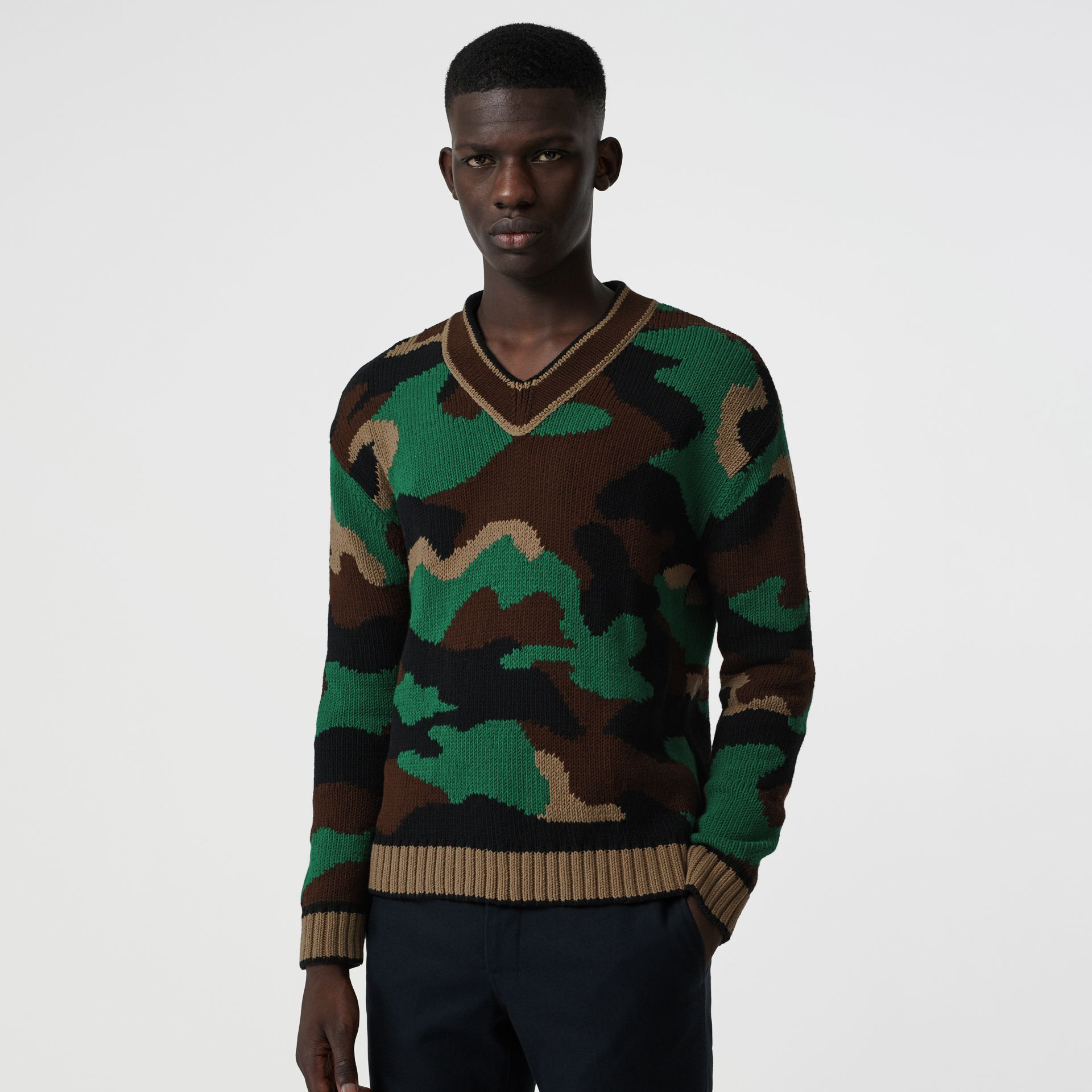 Camouflage Intarsia Cotton Blend Sweater in Forest Green - Men | Burberry Australia - gallery image 4
