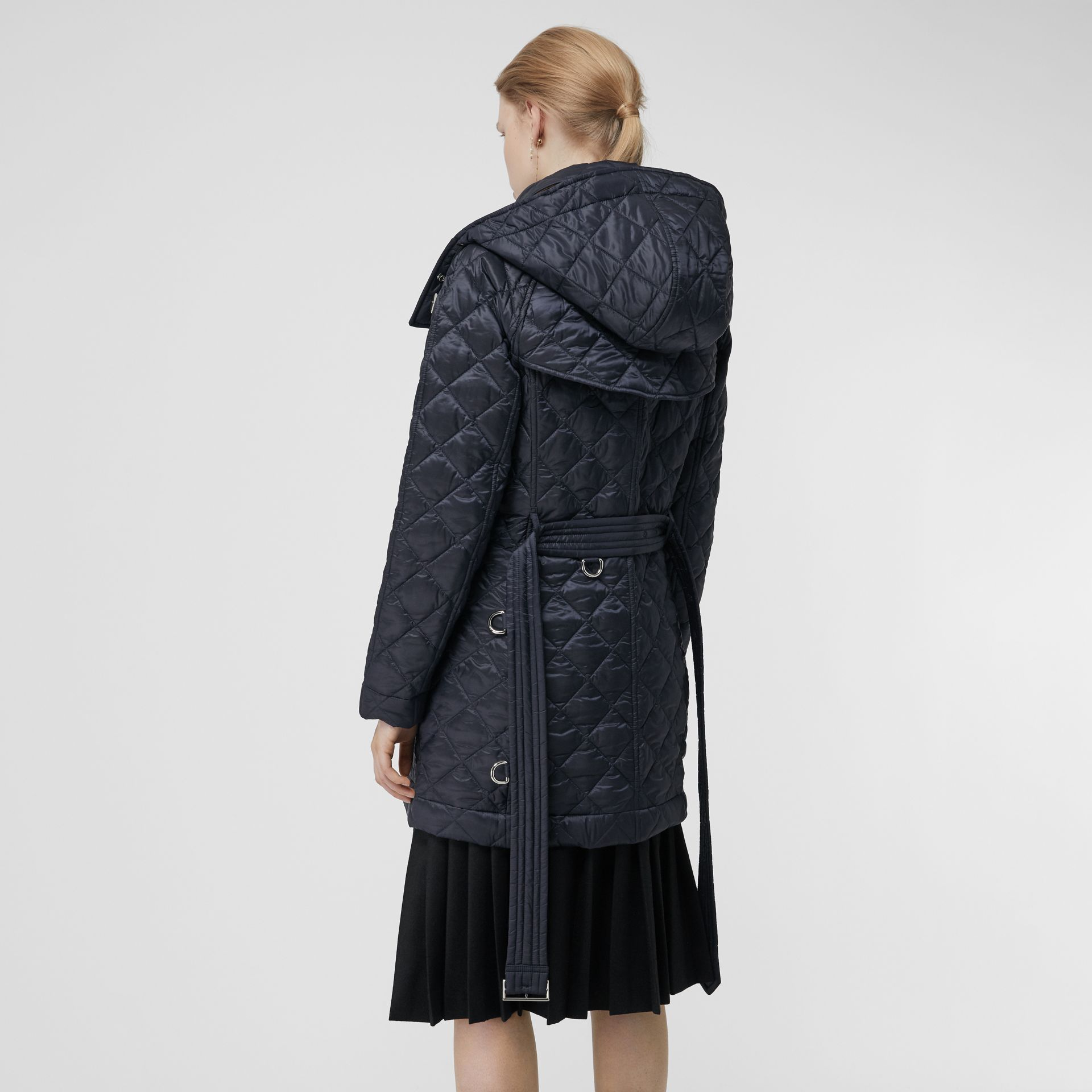 Detachable Hood Lightweight Diamond Quilted Coat in Ink - Women | Burberry United States - gallery image 2