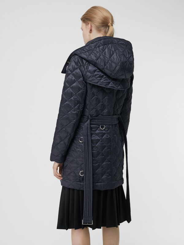 Detachable Hood Lightweight Diamond Quilted Coat in Ink - Women | Burberry - cell image 2