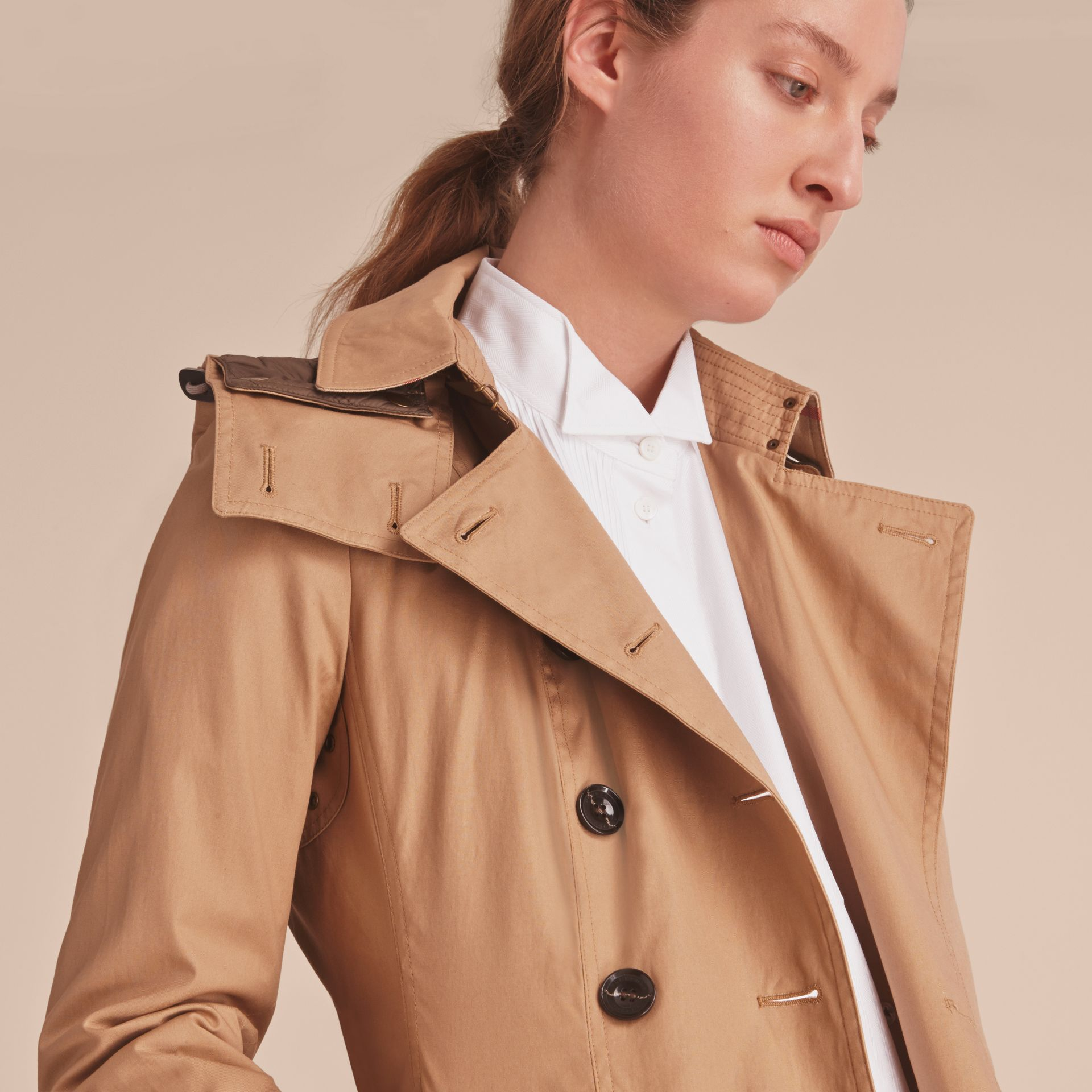 Hooded Trench Coat with Warmer in Light Camel - gallery image 5