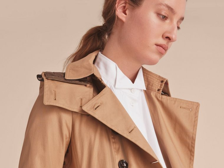 Hooded Trench Coat with Warmer in Light Camel - cell image 4