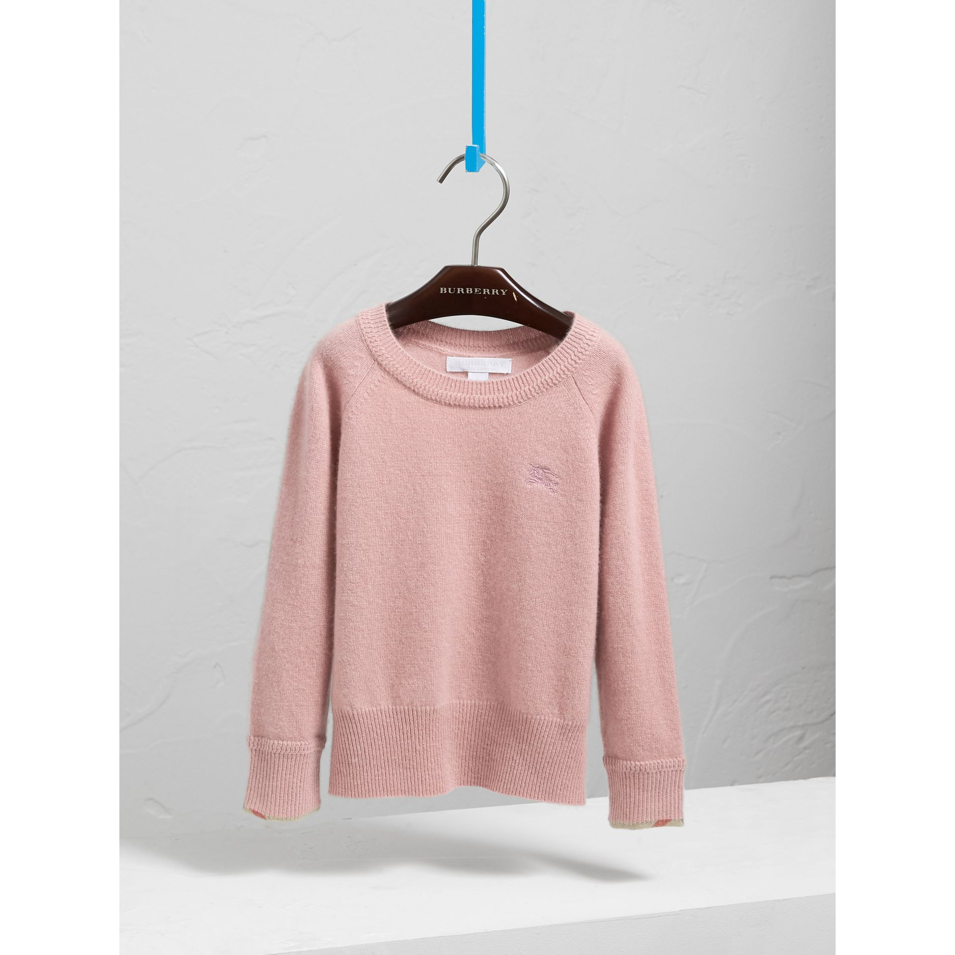 Check Cuff Cashmere Sweater in Dusty Pink | Burberry - gallery image 0