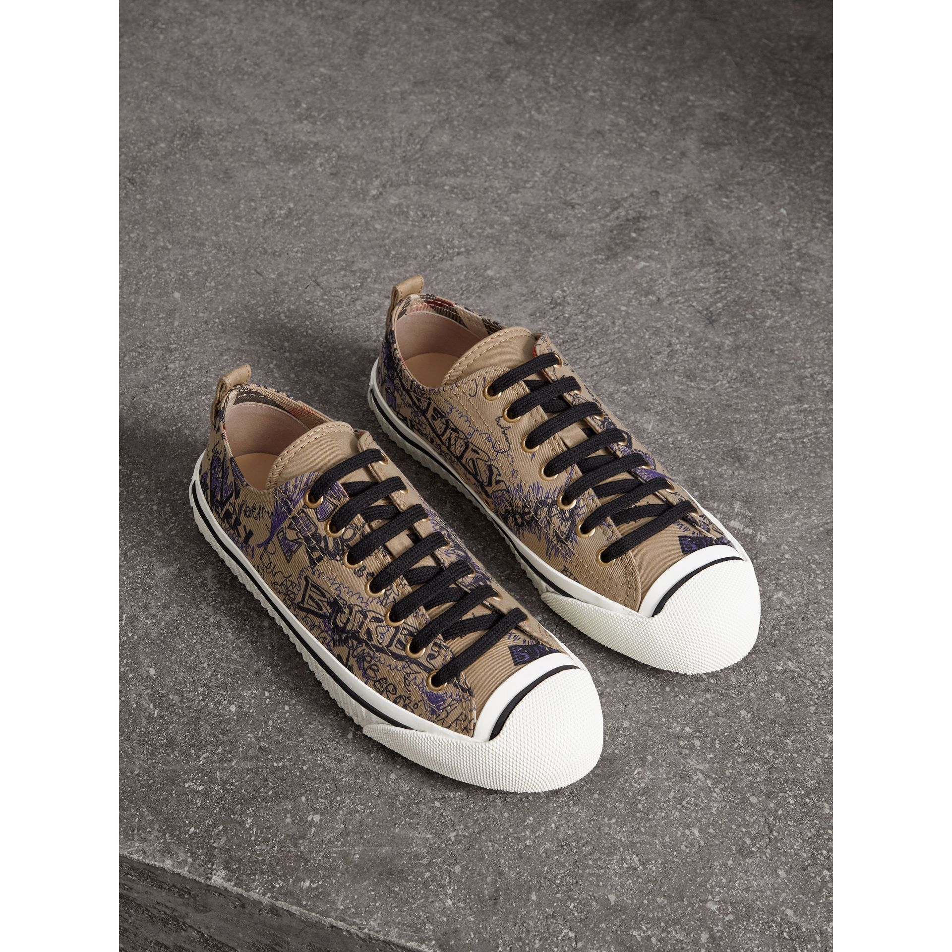 Doodle Print Cotton Gabardine Trainers in Honey - Women | Burberry - gallery image 1