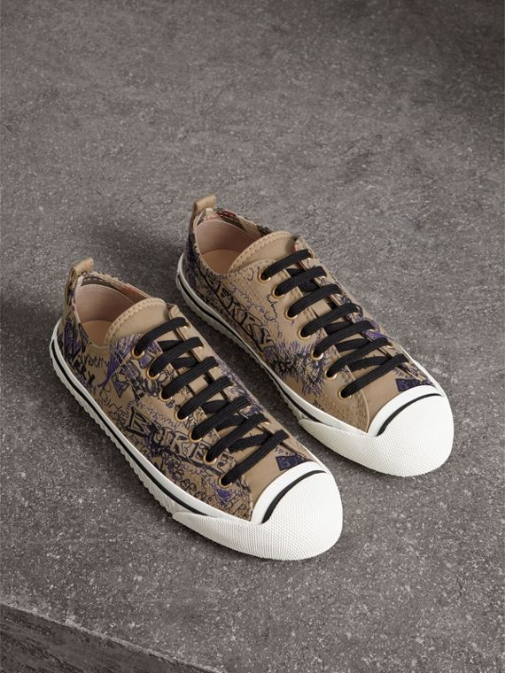Doodle Print Cotton Gabardine Trainers in Honey