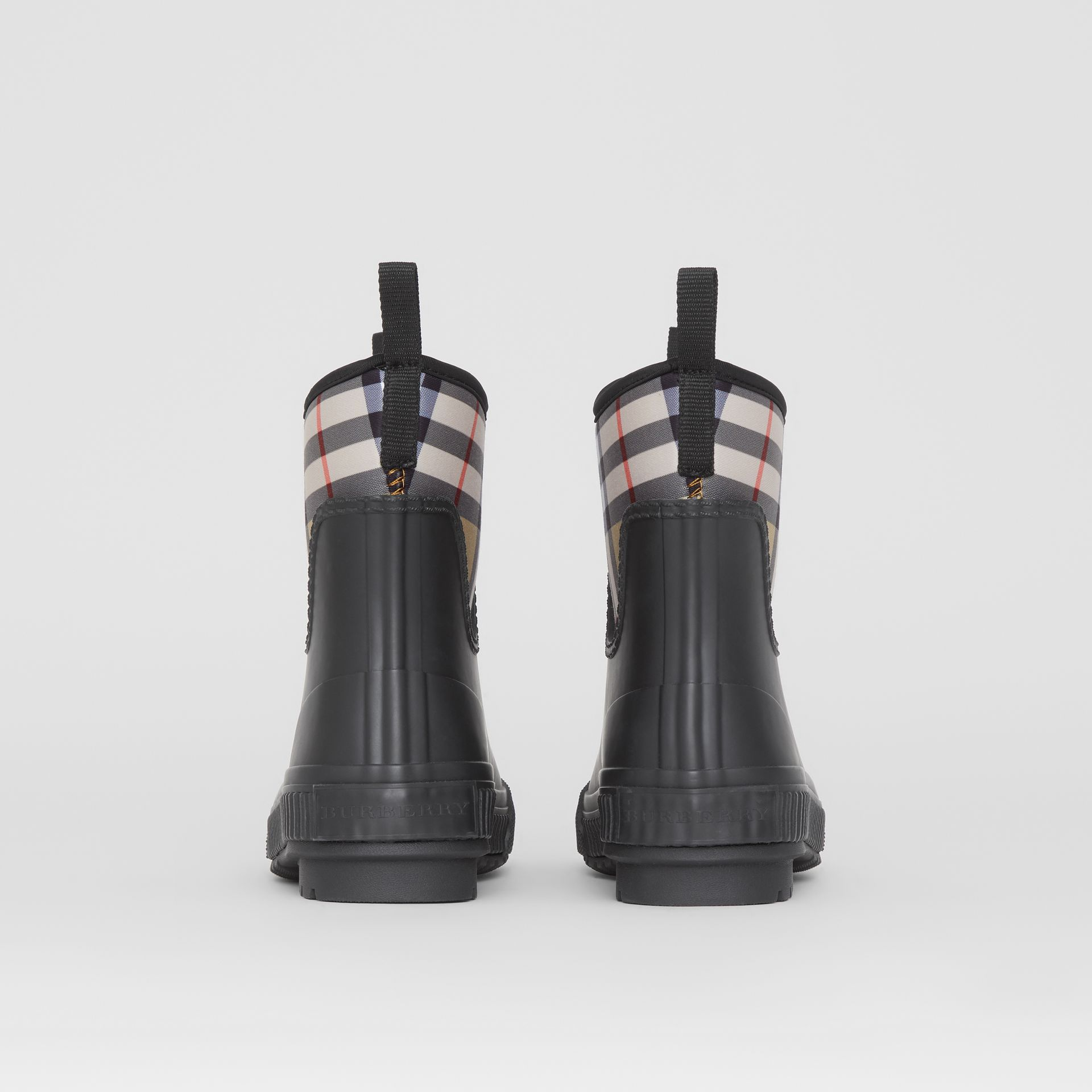 Vintage Check Neoprene and Rubber Rain Boots in Black - Women | Burberry Australia - gallery image 4