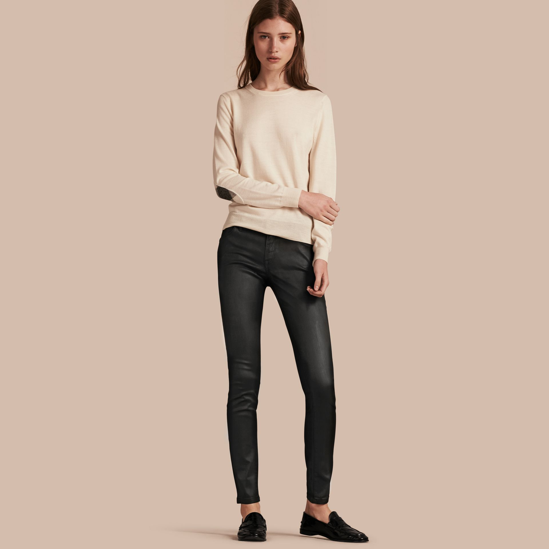 Skinny Fit Low-rise Wax Coated Jeans - gallery image 1