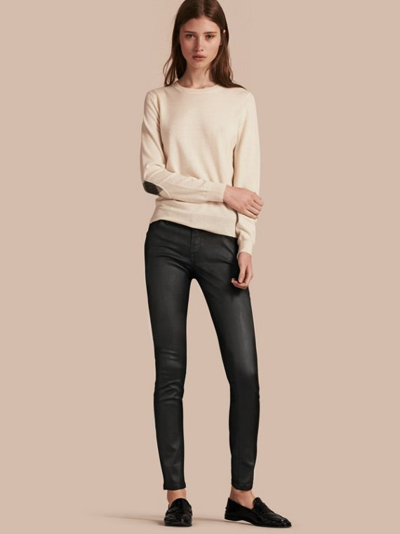 Skinny Fit Low-rise Wax Coated Jeans - Women | Burberry