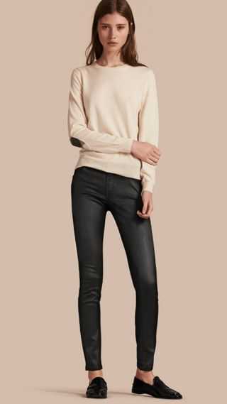 Skinny Fit Low-rise Wax Coated Jeans