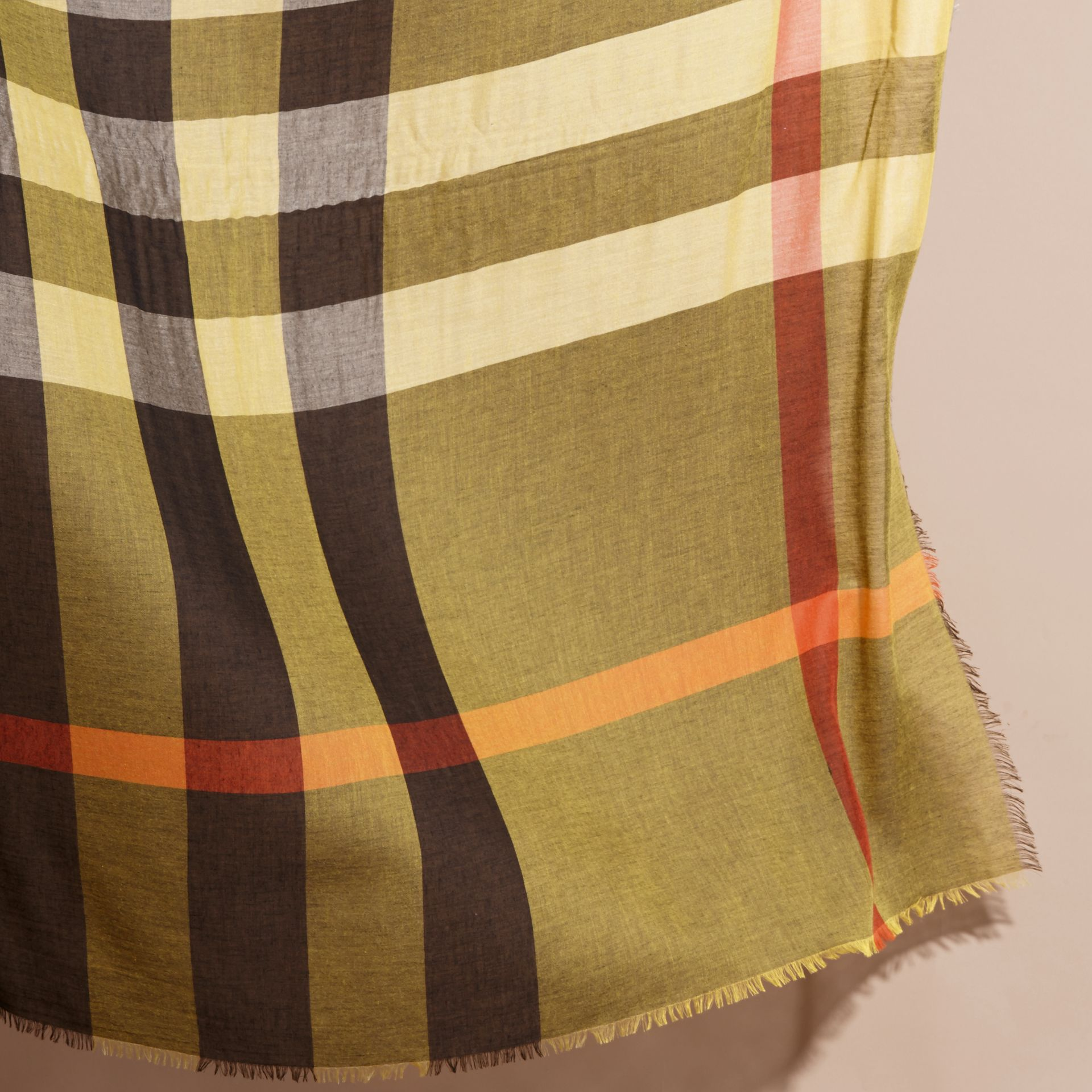 Check Modal and Wool Square Scarf in Amber Yellow - Women | Burberry - gallery image 4