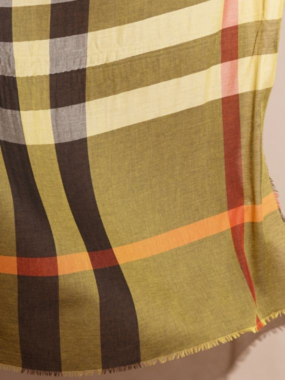 Check Modal and Wool Square Scarf in Amber Yellow - Women | Burberry - cell image 3